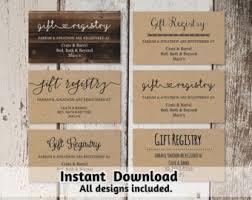 wedding registry templates registry card etsy