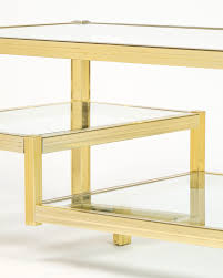 french three tier brass glass coffee table jean marc fray
