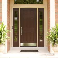 Wooden Main Door by Dark Brown Stained Wooden Main Door With Two Sidelite And Cream