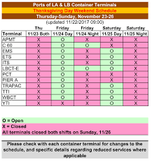 revised port truck gate schedule for thanksgiving day period 2017