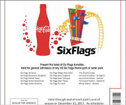 Six Flags Great America Accidents Six Flags 2017 Complimentary Admission E Ticket By Coca Cola
