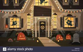 house decorated for halloween stock vector images alamy