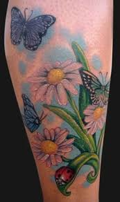 Ladybug And Flower Tattoos - ladybugs on daisy flower tattoo real photo pictures images and