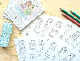 mini coloring book paper doll friends mini coloring pages digital file instant