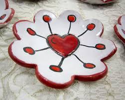ceramic lion ring holder images Small ceramic ring dish or holder red atomic heart artizan made jpg