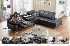echtleder sofa hukla bridge eckgarnitur in schwarz möbel letz ihr shop