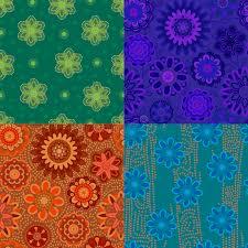 Muster Blau Grün Nahtloses Muster Vier Mit Dekorativen Blumen Blau Gr禺n Blau Und