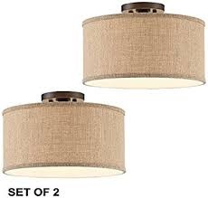 Bronze Ceiling Light Set Of 2 Adams Bronze Burlap Drum Shade Ceiling Light Amazon Com