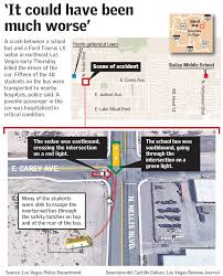 Downtown Las Vegas Map by 1 Dead 16 Hurt In Bus Car Crash In Northeast Las Vegas