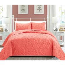 Coral Colored Comforters Coral Colored Bedspreads Lush Decor Aster Quilt Coral And Navy 3