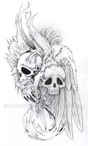 pencil drawings of demon skulls