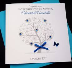 55th wedding anniversary sapphire tree anniversary card