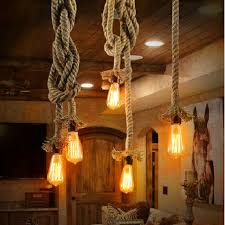 Ceiling Lights Pendants Vintage Rope Loft Pendant Lights Hemp Edison Bulb E27 Pendant L
