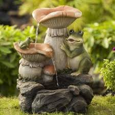 Mushroom Garden Art - jeco mushroom and frog and frog water fountain products