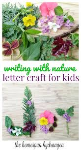 flower letter nature craft for kids the homespun hydrangea