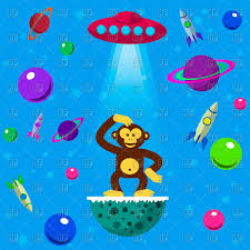 cartoon cosmos elements alien monkey ufo planets and space