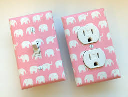 Pink Elephant Nursery Decor Pink Elephant Light Switch Plate Outlet Cover Set Of 2 Baby