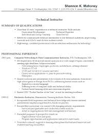 Summary Examples For Resumes by Resume Sample For A Technical Instructor Susan Ireland Resumes