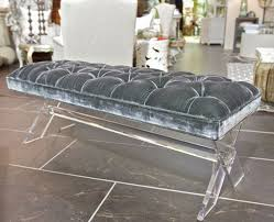 lucite and gray velvet x bench is a striking piece with soft