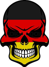 skull colored in colors of germany flag with black red and yellow