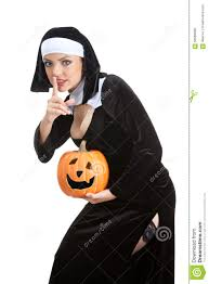 Halloween Costumes Pumpkin Woman Costume Series Maid Holding Halloween Pumpkin Stock Photo Image