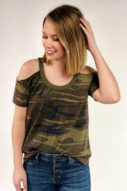 camo blouse zsupply cold shoulder camo groovy s