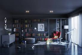 modern home library interior design modern blue home libraries