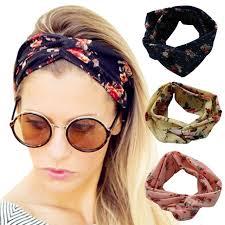 headband floral flower headband fashion retro women elastic turban twisted knotted