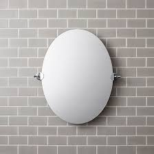 wall mounted bathroom mirror art deco oval chrome plated