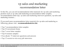 vp sales and marketing recommendation letter