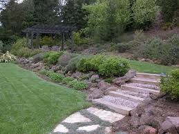 Sloping Backyard Ideas Sloped Backyard Ideas Landscape Traditional With Patio Arbors