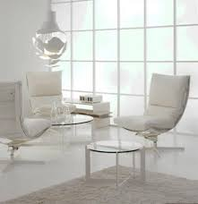 Swivel Armchairs For Living Room Amazing White Swivel Chairs For Lving Room With Round Glass Table
