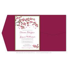 cherry blossom wedding invitations cherry blossoms pocket invitations impress ink stationery