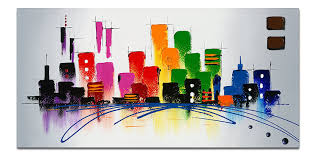 amazon com wieco art cityscape extra large colorful city 100