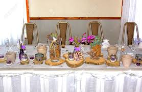 main wedding ceremony table with african theme decorations stock