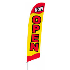 bowflag stock design now open banner display feather fabric flag