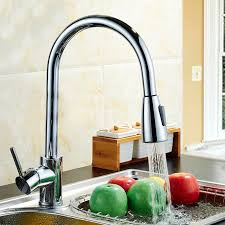 Kitchen Faucet Pull Out Spray Modern Style Chrome Finished Brass Kitchen Faucet Pull Out Spray