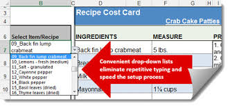 Excel Costing Template Menu Recipe Cost Spreadsheet Template