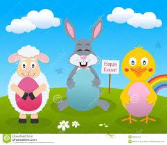 rabbit u0026 lamb with easter eggs stock vector image 39291543