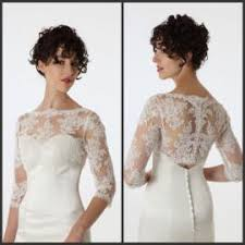 2017 bridal jacket with long sleeves 2015 illusion neck elbow