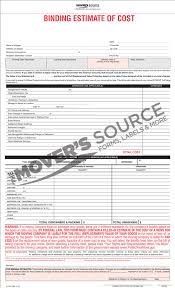 Household Goods Move Estimate by Customizable Forms Interstate