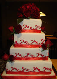 rose patterned white wedding cake with private design wedding