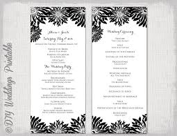Wedding Program Outline Template Printable Wedding Program Template Black U0026 White