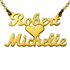 Double Plated Name Necklace Gold Plated Lovers Heart Name Necklace Gpnn 05