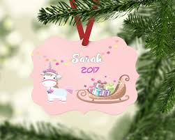 Unicorn Christmas Ornament Two Sided Personalized Unicorn Ornament U2013 Hugs Mugs U0026 More