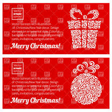red christmas greeting cards with ornate snowflake and christmas