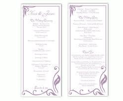 purple wedding programs wedding program template diy editable word file instant