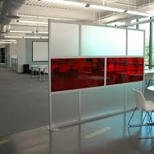 contemporary room partition ideas along with frosted glass and red