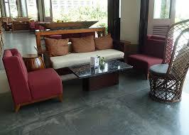 Wooden Frame Sofa Set Lobby Wood Frame Rattan Sofa Set For Island Resort Durable Teak Wood