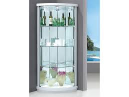 Glass Curio Cabinet With Lights Decoration Corner Display Unit Black Glass Cabinet White Glass